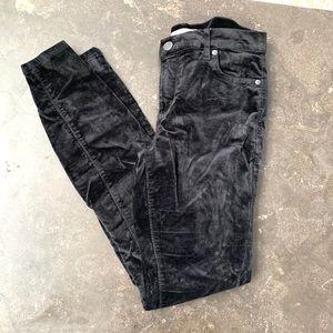 LOFT black velvet cropped straight jean size 4/27